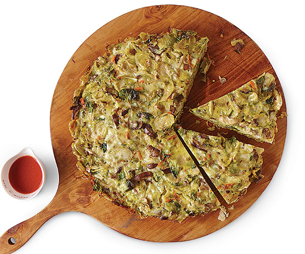 Roasted Brussels Sprouts and Mushroom Frittata
