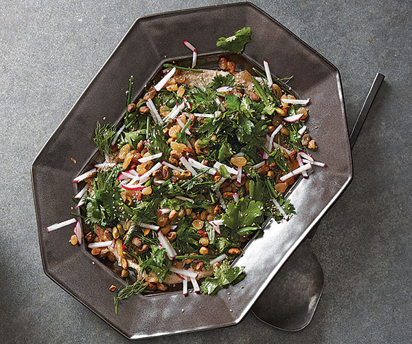Herb Salad with Pistachios and Raisins