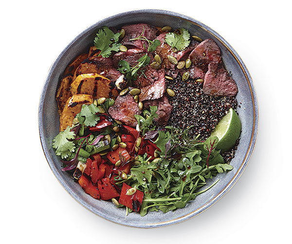 Peruvian Quinoa Bowl with Grilled Steak and Vegetables