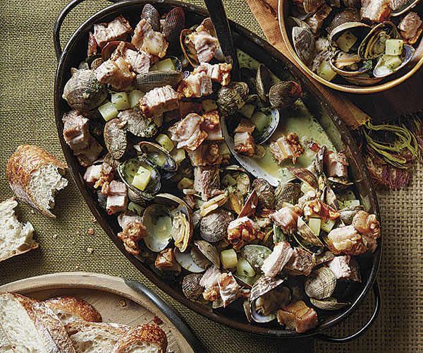 Clams with Herb Cream and Pork Belly Cracklin'
