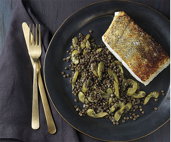 Caramelized Celery with Lentils