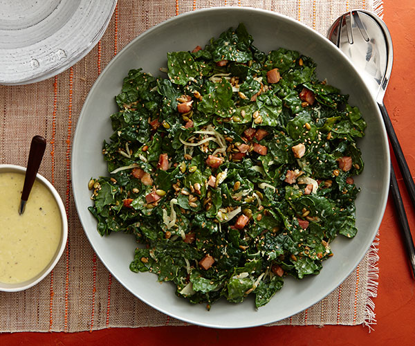 Horseradish Kale Caesar Salad with Seeds