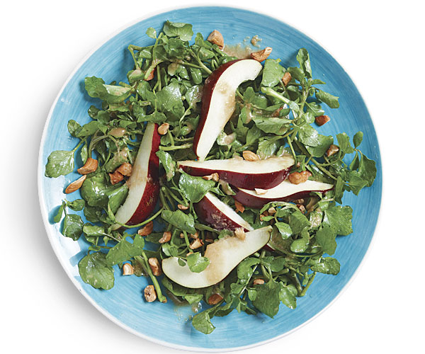 Pear and Watercress Salad with Cashews and Honey-Ginger Vinaigrette