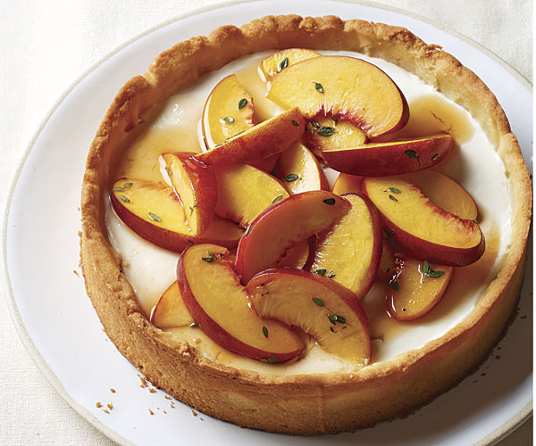 Marinated Peach Tart with Honey-Yogurt Mousse