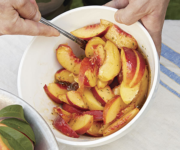 Sherry Vinegar and Rosemary Marinated Peaches