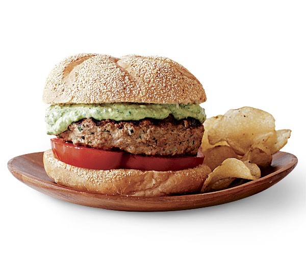 Grilled Lamb Burgers with Avocado Yogurt Sauce