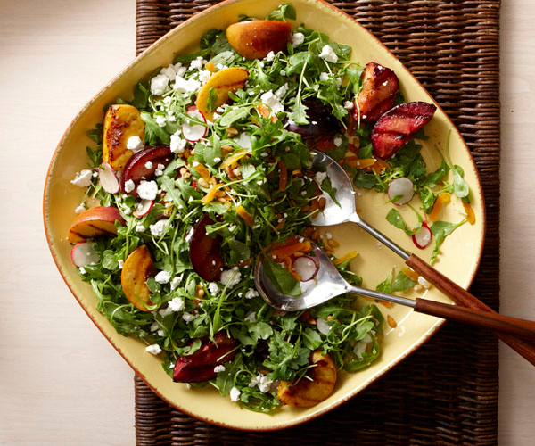 Arugula and Grilled Stone Fruit Salad with Goat Cheese and Dried Apricots