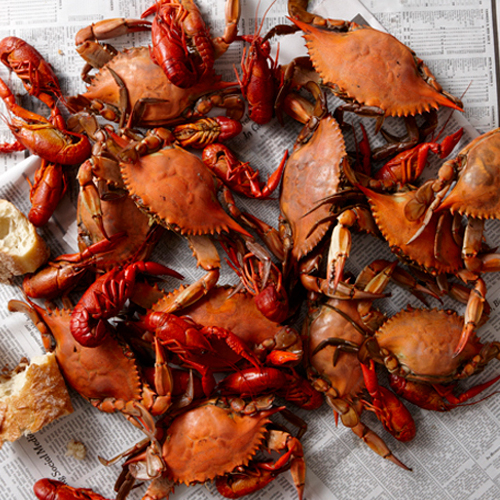 Boiled Crawfish and Crabs