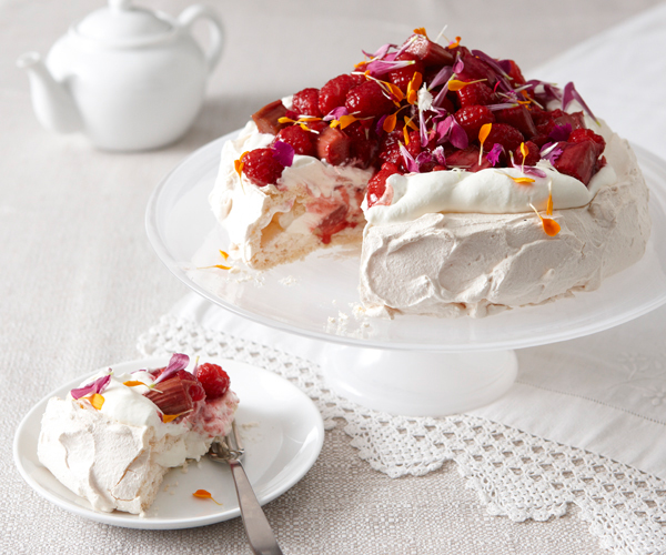 Pavlova with Red-Wine-Roasted Rhubarb and Raspberries