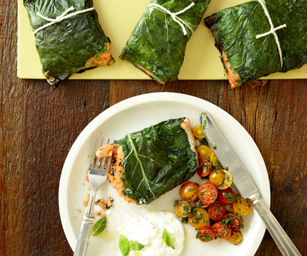 Grilled Salmon Wrapped in Collards with Tomato-Mint Salsa and Tzatziki