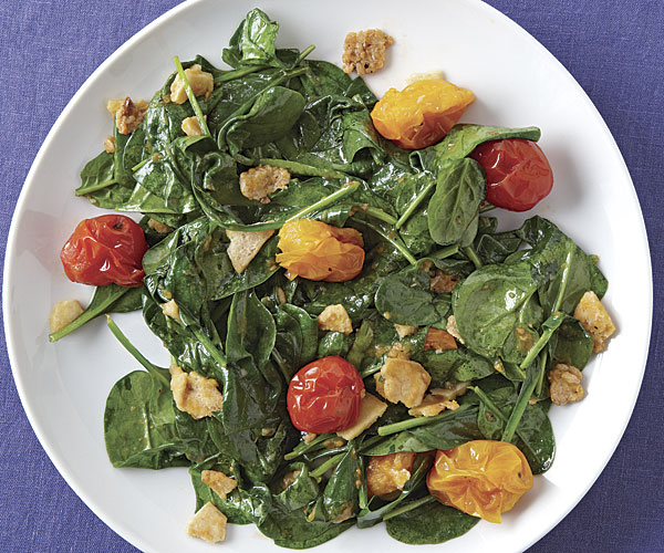 Wilted Spinach Salad with Burst Tomato Vinaigrette