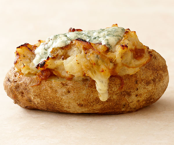 Twice Baked Potatoes With Caramelized Onions And Blue Cheese Recipe Finecooking