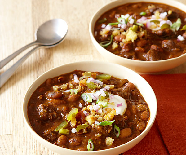 Beef And Pinto Bean Chili With Toasted Cornbread Crumbles Recipe Finecooking