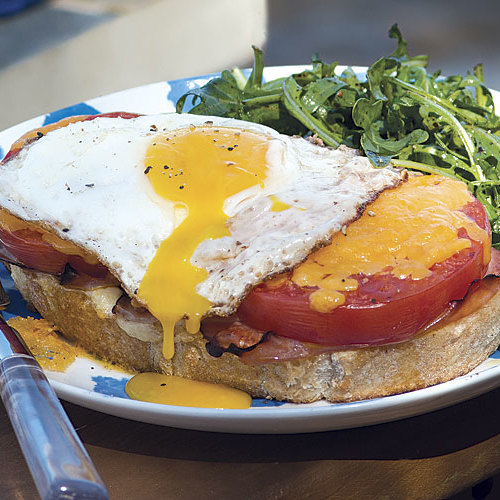 Open Face Egg And Griddled Ham Breakfast Sandwiches Recipe: Cooking Away