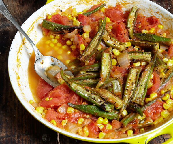 Pan Roasted Okra Corn And Tomatoes Recipe Finecooking