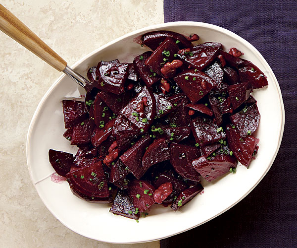 glazed beets with walnuts and chives recipe finecooking