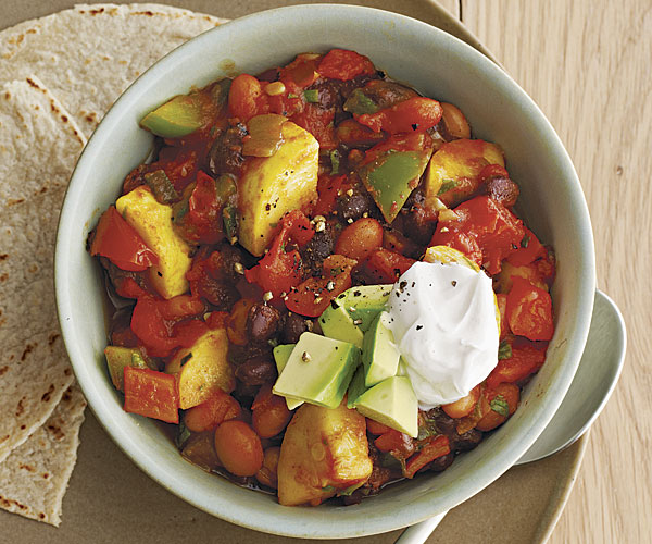 Spicy Slow-Cooker Veggie Chili with Summer Squash and Jalapeños