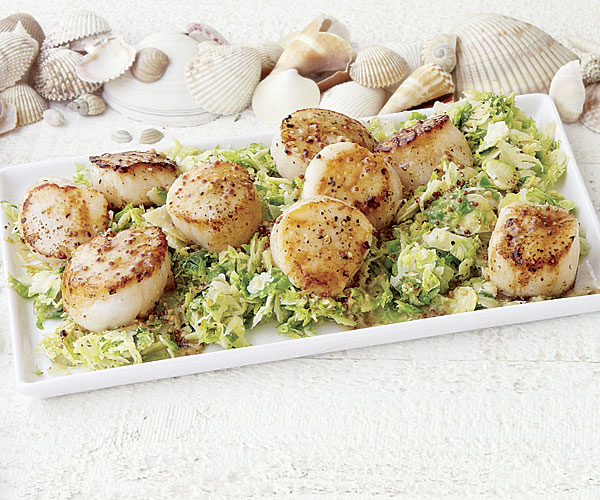 Sea Scallops With Brussels Sprouts And Mustard Sauce Recipe