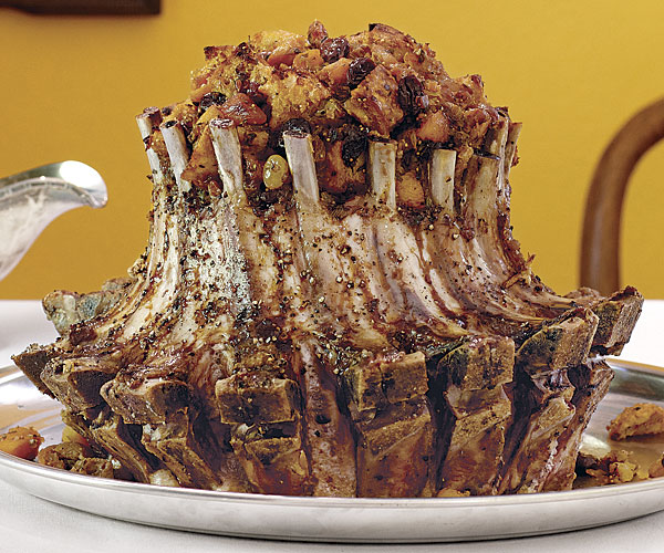 Pork Crown Roast With Dried Fruit Sourdough Stuffing And