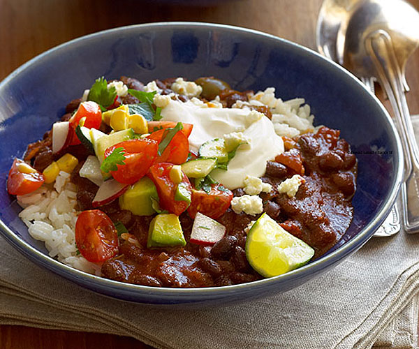 Smoky Chipotle Black Bean Chili With Fresh Salsa Recipe Finecooking