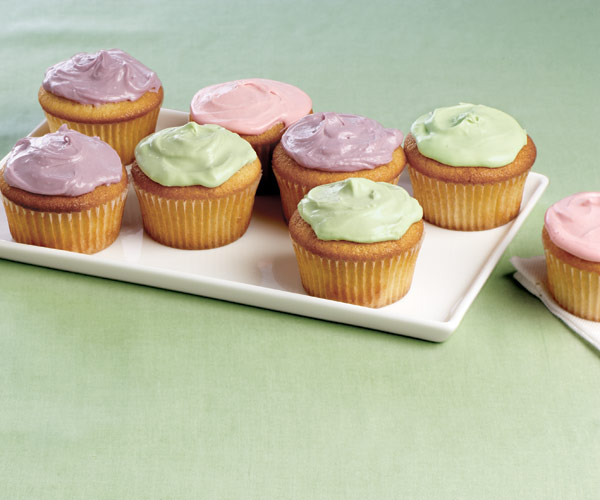 Vanilla Cupcakes with Colored Cream Cheese Frosting - Recipe ...