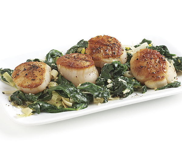 Seared Scallops With Creamy Spinach And Leeks Recipe Finecooking