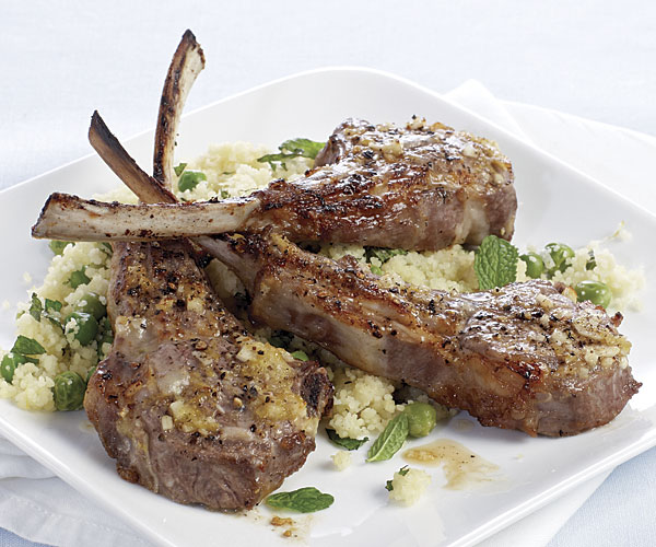 lemon garlic lamb chops with minted couscous recipe finecooking