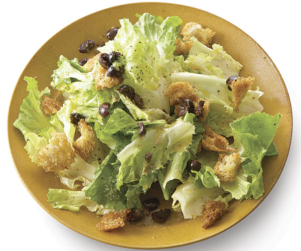 Escarole Salad With Olives And Garlic Croutons Recipe Finecooking