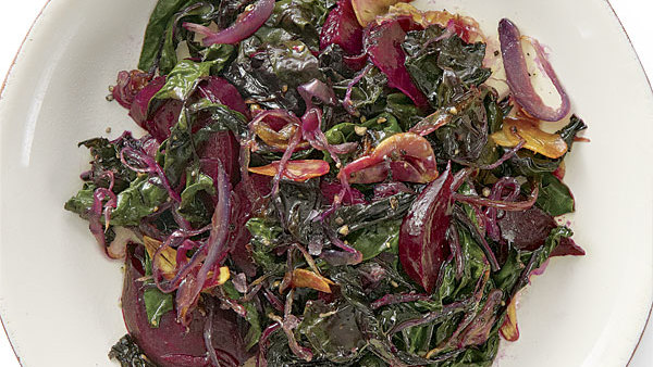 sautéed beets and beet greens with red onions and garlic recipe