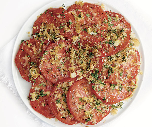 Gratinéed Tomatoes with Asiago and Fresh Herbs