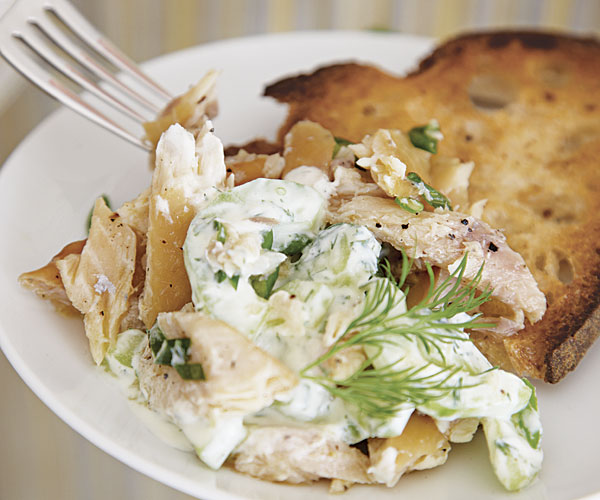 Smoked Trout Salad With Creamy Cucumbers Scallions And Dill