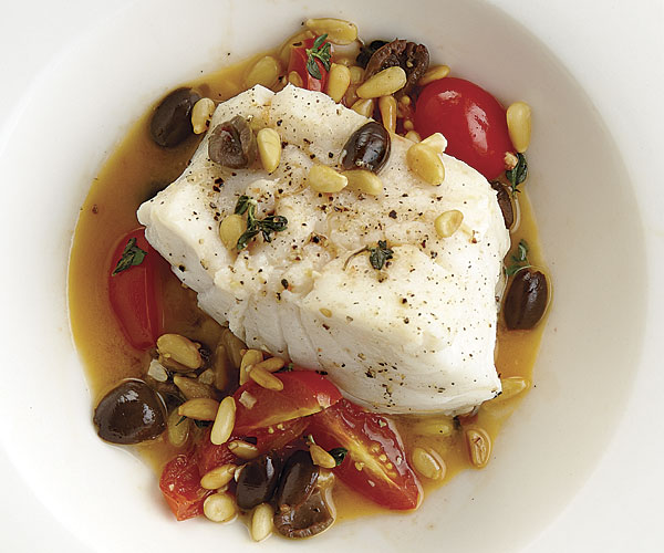 Black Cod with Pine Nuts, Tomatoes, and Olives