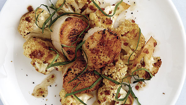 seared scallops with cauliflower  brown butter  and basil