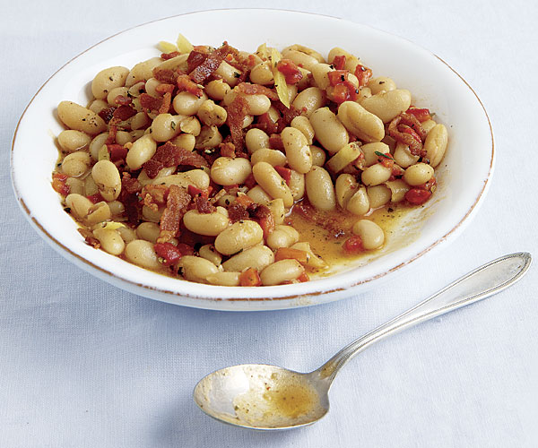Cannellini Beans with Lemon, Roasted Red Peppers, and Bacon