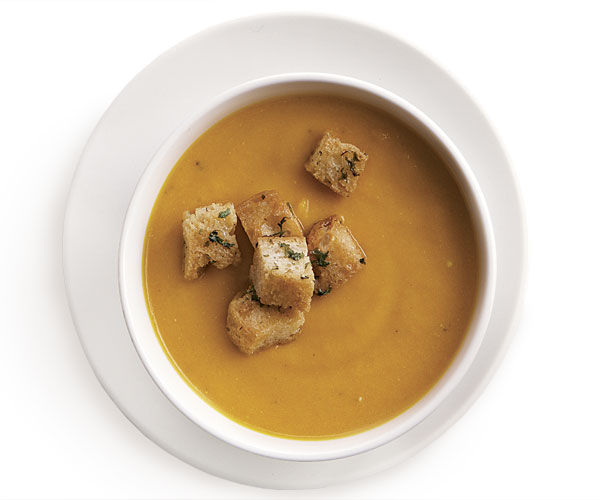 Carrot and Leek Soup with Herbed Croutons