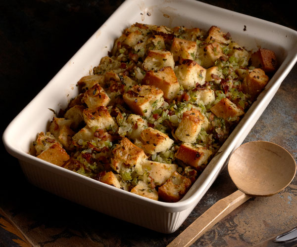 Sourdough Stuffing with Oysters and Bacon
