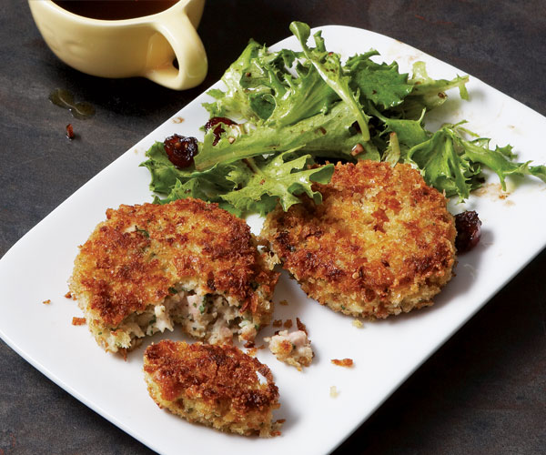 Turkey Croquettes with Mixed Greens and Cranberry Vinaigrette