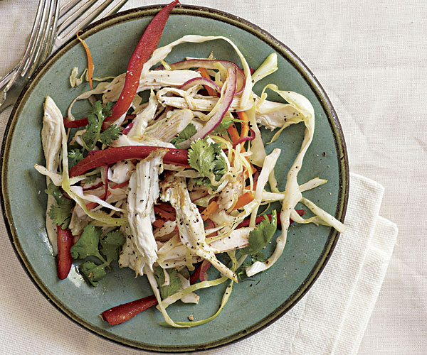 Tea-Smoked Chicken Salad with Coriander and Pickled Red Onions