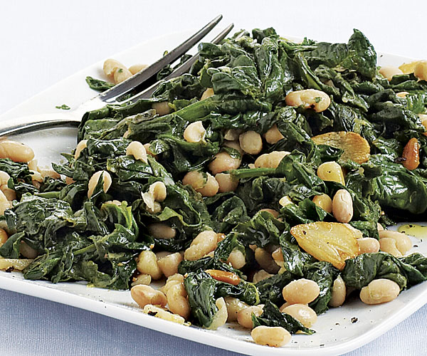 Sautéed Spinach with White Beans and Pine Nuts
