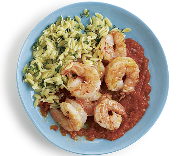 Olive Oil Poached Shrimp with Ginger-Tomato Sauce