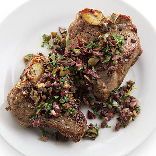Broiled Lamb Loin Chops with Olive-Mint Salsa