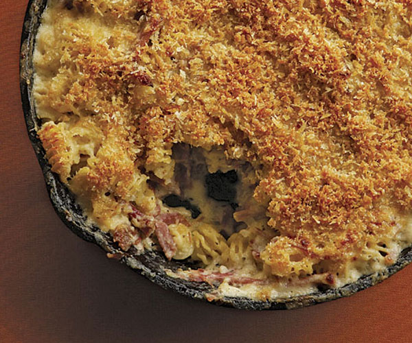 Pulled-Pork Macaroni and Cheese with Caramelized Onions and Four Cheeses