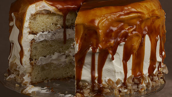 Pear Ginger Cake With Whipped Cream And Rum Caramel Glaze