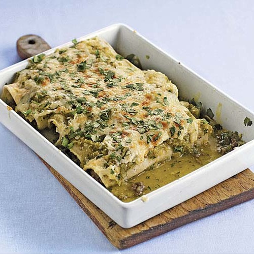 Quick Beef Enchiladas With Salsa Verde Recipe Finecooking