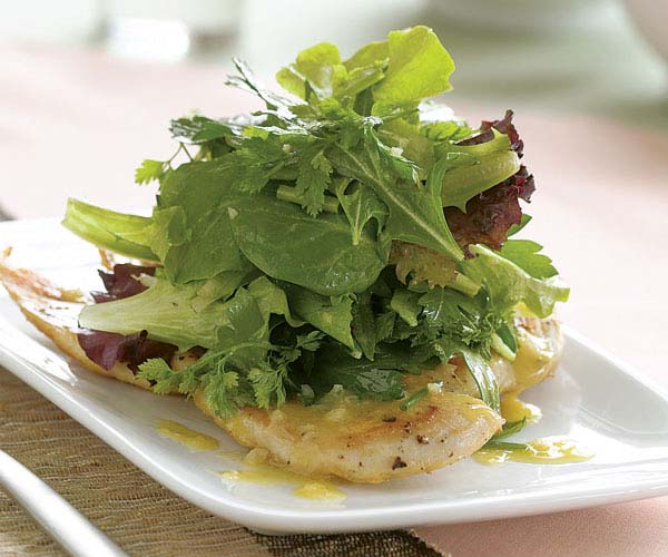 Sauteed Chicken Paillards With Herb Salad White Balsamic Vinaigrette Recipe Finecooking