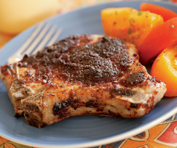 Broiled Pork Chops With Sun Dried Tomato Chipotle Pesto Recipe