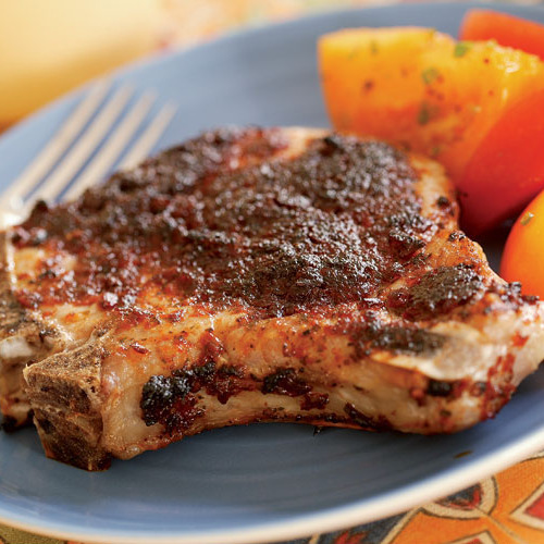Broiled Pork Chops with Sun-Dried Tomato & Chipotle Pesto