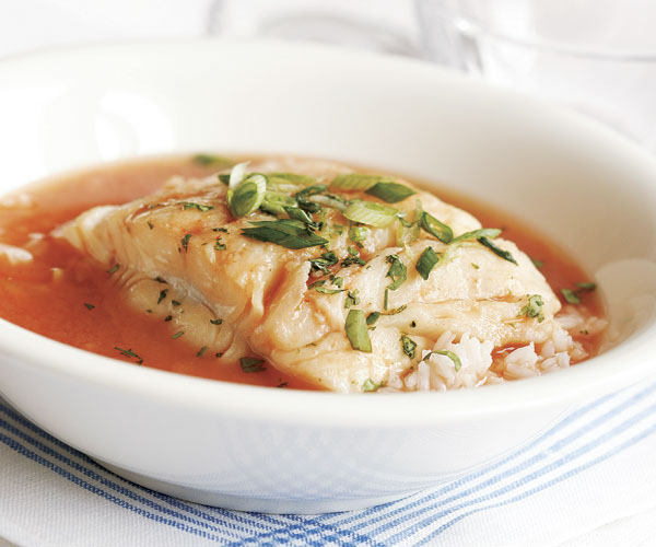 Poached Halibut in Hot & Sour Broth