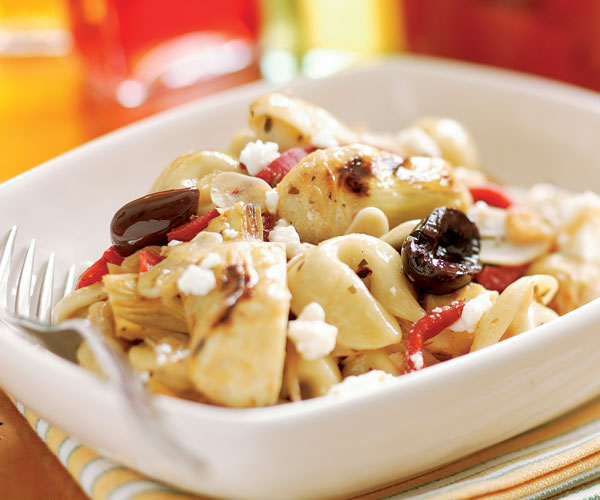 Tortellini with Artichokes, Roasted Peppers & Olives