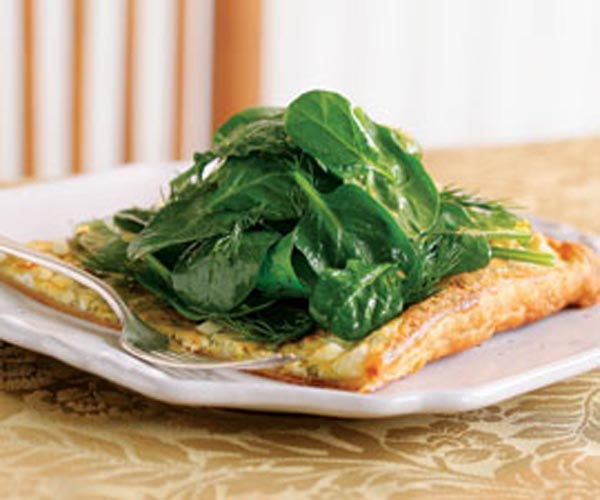 Feta & Dill Galette with Lemony Spinach Salad